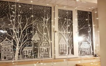 Украшения на окна к Новому году